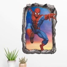 3D spiderman wall stickers for kids rooms removable cartoon fake window decals home decor