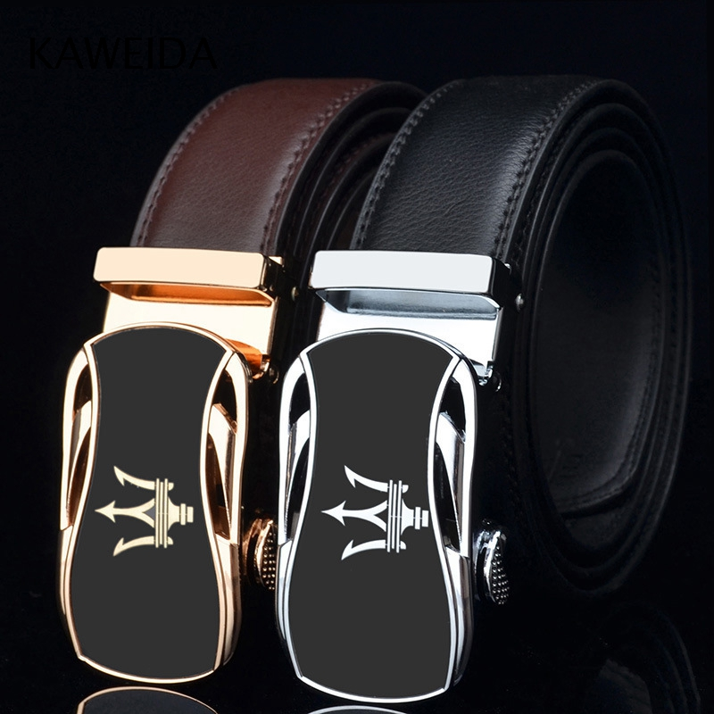 KWD Designer   Belts   for Men's 2018 Luxury Trident Logo Automatic Buckle Famous Brand   Belt   Genuine Leather Kemer for Jeans Riem