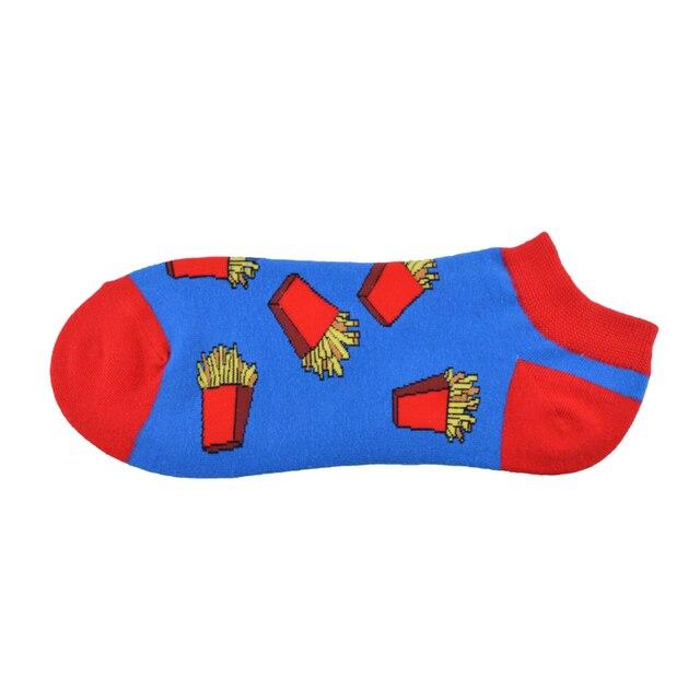 New Arrival Ankle Socks Men Art Abstraction Creative Food Hamburger French Fries Pattern Socks Casual Funny Boat Socks 6