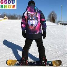 Gsou śniegu mężczyźni kombinezon narciarski pojedyncza deska podwójna płyta zima grube ciepłe ciepłe ubrania narciarskie wiatr dowód wodoodporna kobiet męskie zestawy narciarskie tanie tanio WINTERIMPRESSION CN (pochodzenie) Poliester COTTON Z kapturem Skiing Pasuje prawda na wymiar weź swój normalny rozmiar