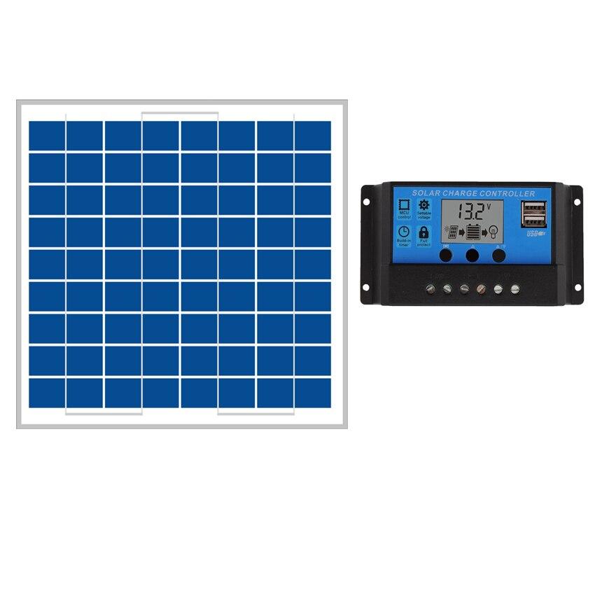 10W Solar Panels 10A 12V 24V Solar Controller LCD display small solar home system 18V solar