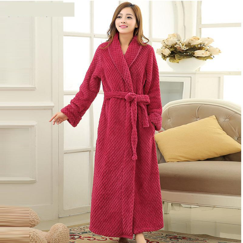 ae3df184fa Bath Robe Female Lovers Coral Fleece 9 Colors Night Gown Spa Bathrobe  Unisex Bath Robe Women Long Sleeve Kimono Womens Gowns