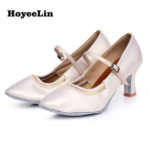 Image 3 - HoYeeLin Modern Dance Shoes Women Ladies Mid Heeled Ballroom Tango Waltz Dancing Shoes Indoor Outsole