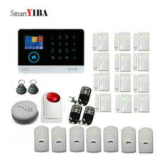 SmartYIBA Wifi APP Control Voice Prompt Alarm Systems Metal Remote Control Infrared PIR Sensor Flash Siren Smoke/Door Alarm Kits