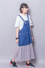 Fashion street pure colorant match pleated gauze  loose plus size denim braces dress female 2016