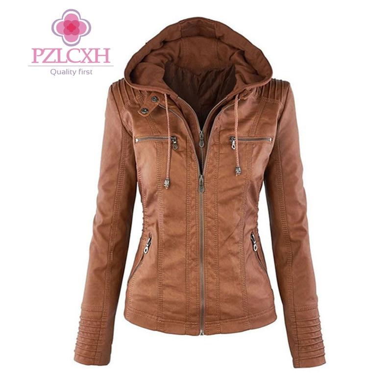 PZLCXH 2017 Autumn Winter Faux Leather Jacket Women Coats Long Sleeve Hat Detachable Zipper Motorcycle PU Leather Jackets DQ013