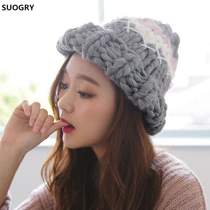 SUOGRY Warm Patchwork Hats Casual Female Autumn Winter Hats Handmade Coarse Knitted Hat For Women Beanies Candy Color Caps bingyuanhaoxuan2017 warm patchwork hats casual female autumn winter hats handmade coarse knitted hat for women beanies candy cap