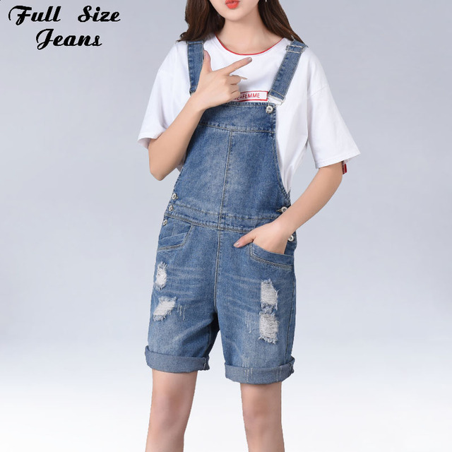 58e505e28260 Plus size buttons short romper jeans casual pocket denim overalls frayed hot  pants for women jpg