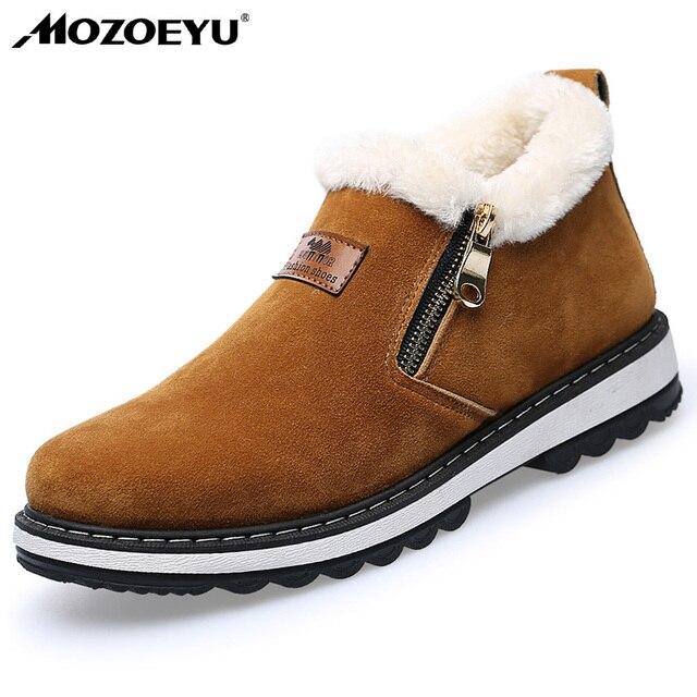 MOZOEYU 2017 Black Men's Loafers Designer Winter Shoes Men Warm Short Plush Fashion Casual Shoes Men Zip Zapatillas Deportivas
