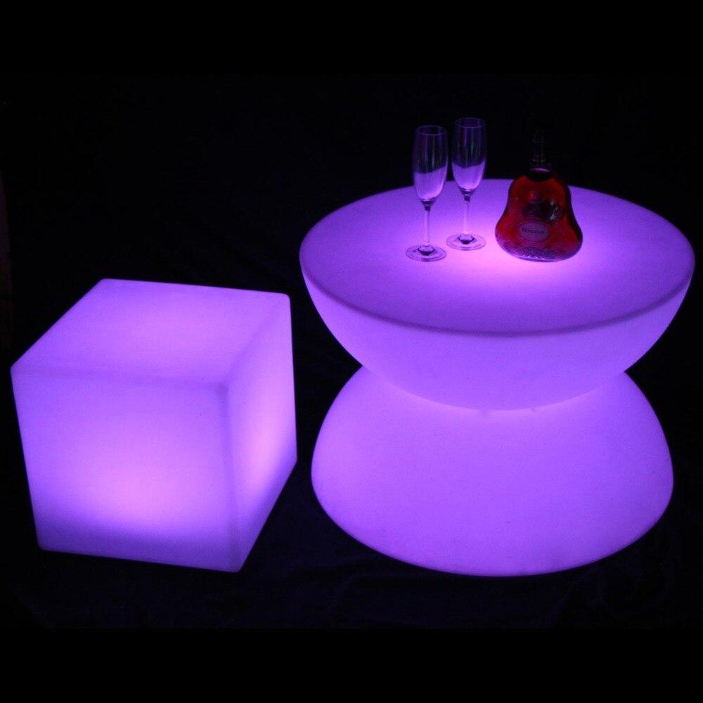 LED Glowing Table Chair Set Bar Furniture Sets SK-LF16B (D66*H44cm) 1pc+4pcs LED Cube Chair D40cm Free Shipping 1set