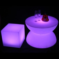LED glowing table Chair set Bar Furniture Sets SK LF16B (D66*H44cm) 1pc+4pcs LED Cube Chair D40cm free shipping 1set