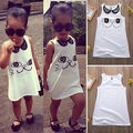 Hot Sale New 2016 summer girl dress cat print baby girl dress children clothing children dress 2-6years