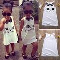 Venta caliente Nuevo 2016 vestido de niña de verano impresión del gato vestido del bebé los niños ropa de los niños visten 2-6years
