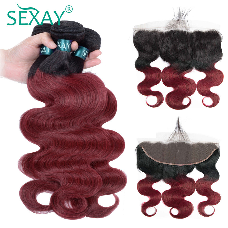 SEXAY Pre Colored Burgundy Ombre Bundles With Frontal Closures Red Wine Colored Non Remy Human Hair Bundles Brazilian Body Wave