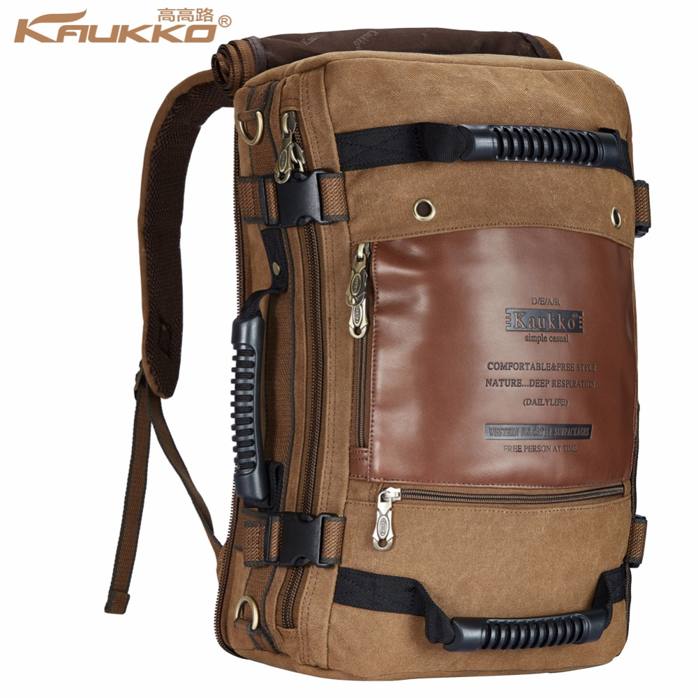 Kaukko Men backpack Canvas Huge Travel School Shoulder Computer Backpacking..