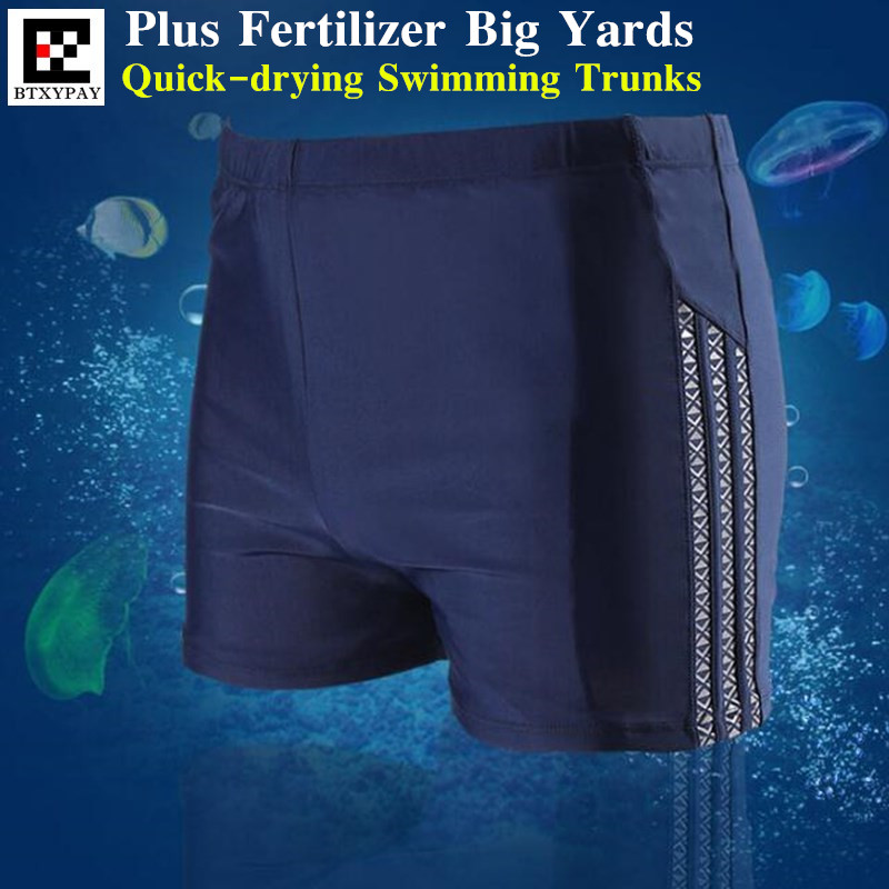 Swimsuit Boxer-Board Racing Shorts Briefs Plus Fertilizer Quick-Dry Big-Yards Breathable