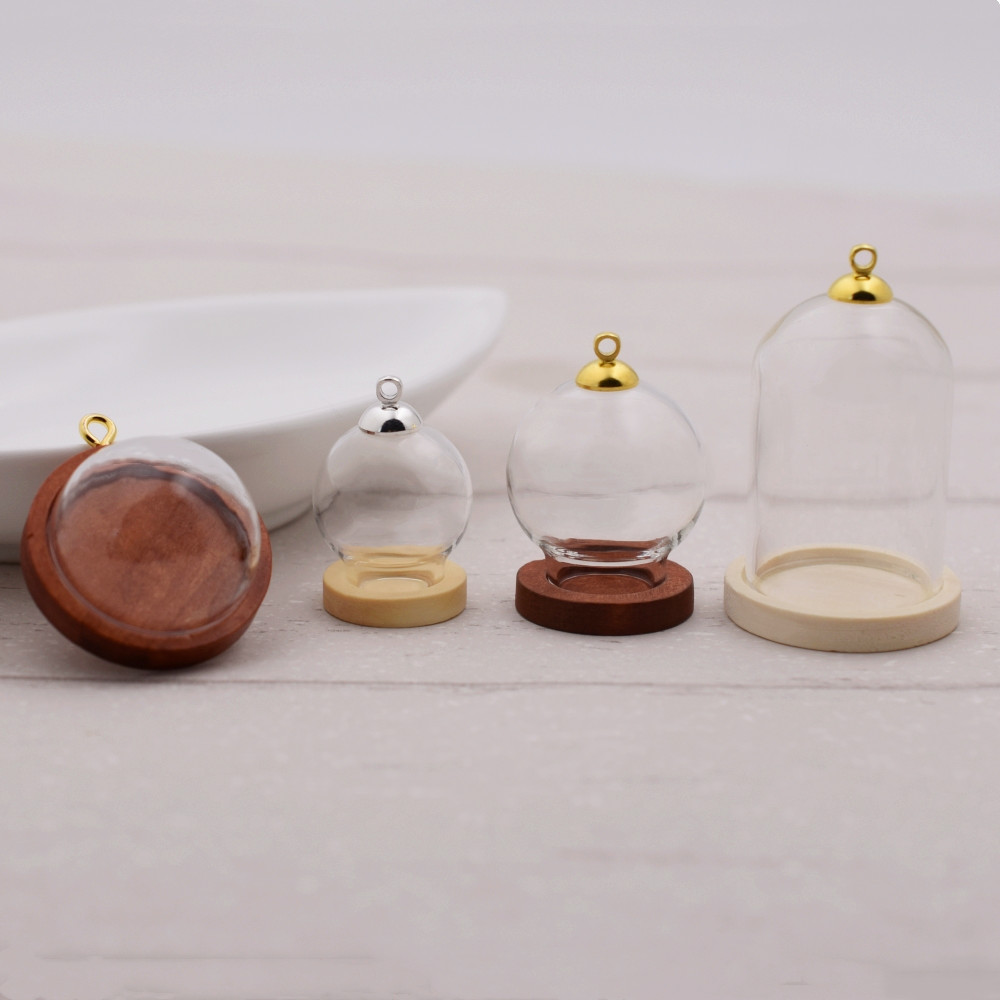1sets 38*25mm Tube Glass Globe Bottle Wood Base Beads Cap Set Glass Ball Glass Vial Cover Dome Glass Bottle Cute Charms