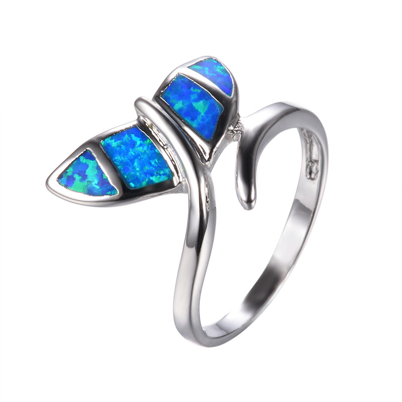 Cute Blue Fire Opal Wing Ring For Women Wedding Band Fashion Jewelry 10KT Whi