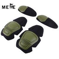 MEGE Rodilla Táctico y Elbow Protector Pad Combate Uniforme Militar Traje De Paintball Airsoft, 2 rodilleras y coderas 2/Set