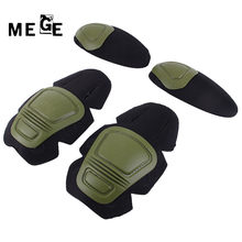 MEGE Tactical Knee and Elbow Protector Pad For Paintball Airsoft Combat Uniform Military Suit, 2 knee pads & 2 elbow pads/Set(China)