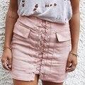 Vintage de cintura alta de encaje de cuero de gamuza mujeres falda sexy bolsillos preppy short pencil skirt 2017 otoño invierno casual faldas