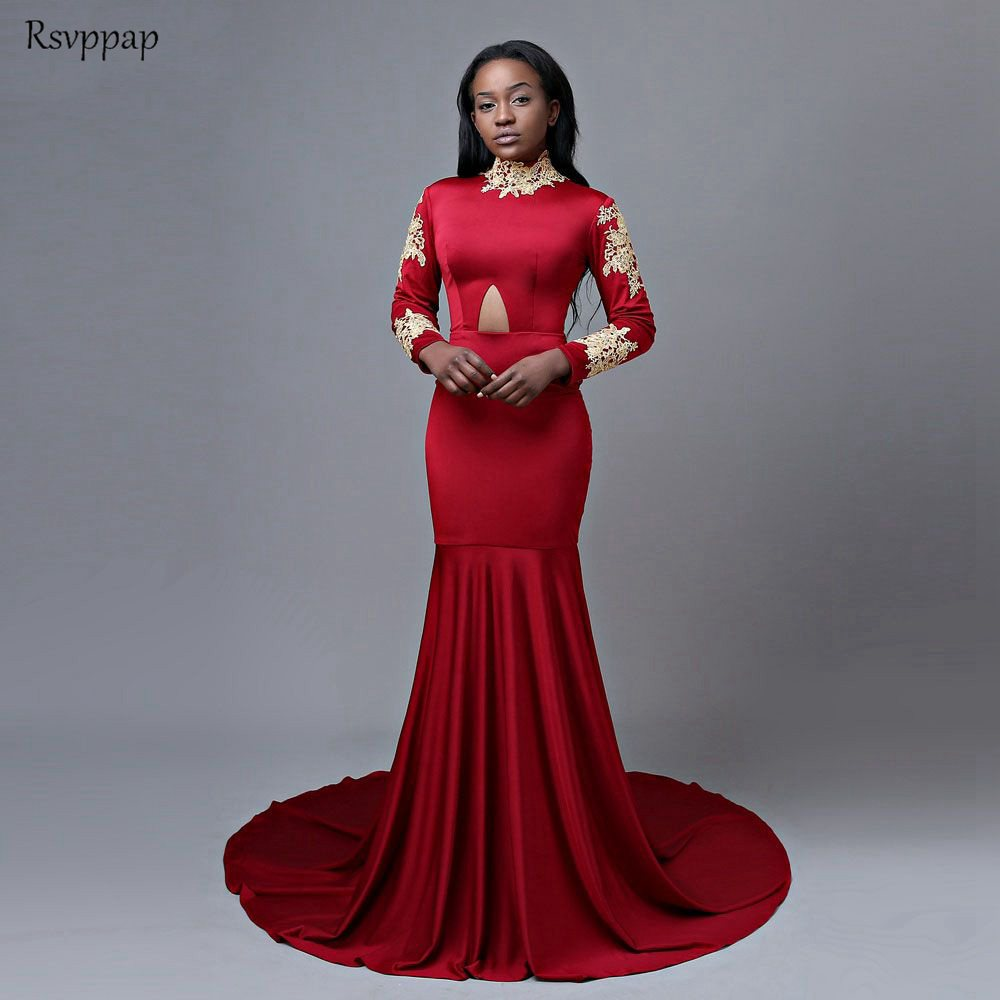 Sexy Long Mermaid   Prom     Dresses   2019 High Neck Long Sleeve African Girl Red Floor Length Party   Prom     Dress