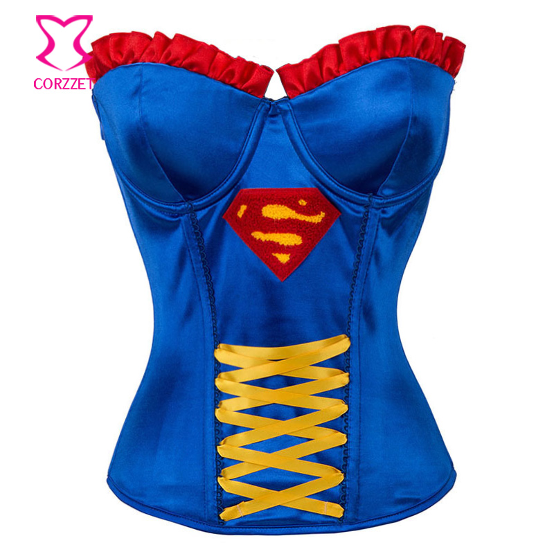 New Superhero Blue   Corsets   And   Bustiers   Steampunk   Corset   Gothic Corselet Sexy Korsett For Women Corselete Feminino Espartilhos