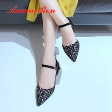 ANMAIRON 2019 New Arrival Women Low Heel  Pumps Basic Square Pointed Toe Casual Ladies Shoes Size 34-43 LY2147