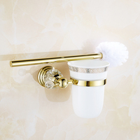 Antique Polished Solid Brass Toilet Brush Holder Ceramic Cup Crystal Toilet Brush Rack Bathroom Accessories Products