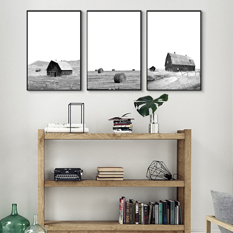 Modern Farmhouse Posters Print Decor Black White Farming Barn Wall Art Windmill Canvas Painting Pictures for Living Room Decor image