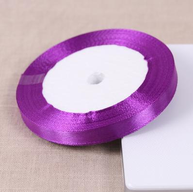 Рулон 1 см Ширина 25 ярдов Длина атласной лентой фиолетовые Свадебные украшения дома полиэстер Ленты коробки основы Ручной работы Craft ткань