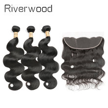Brazilian Body Wave Human Hair Bundles With Lace Closure 3 Bundles Virgin Hair With 13x4 Lace Frontal aliexpress hair(China)