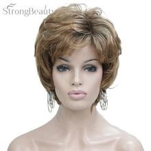 Сильная красота синтетический Омбре блонд короткие волнистые парики с челкой для афроамериканских женщин среднего возраста натуральный парик
