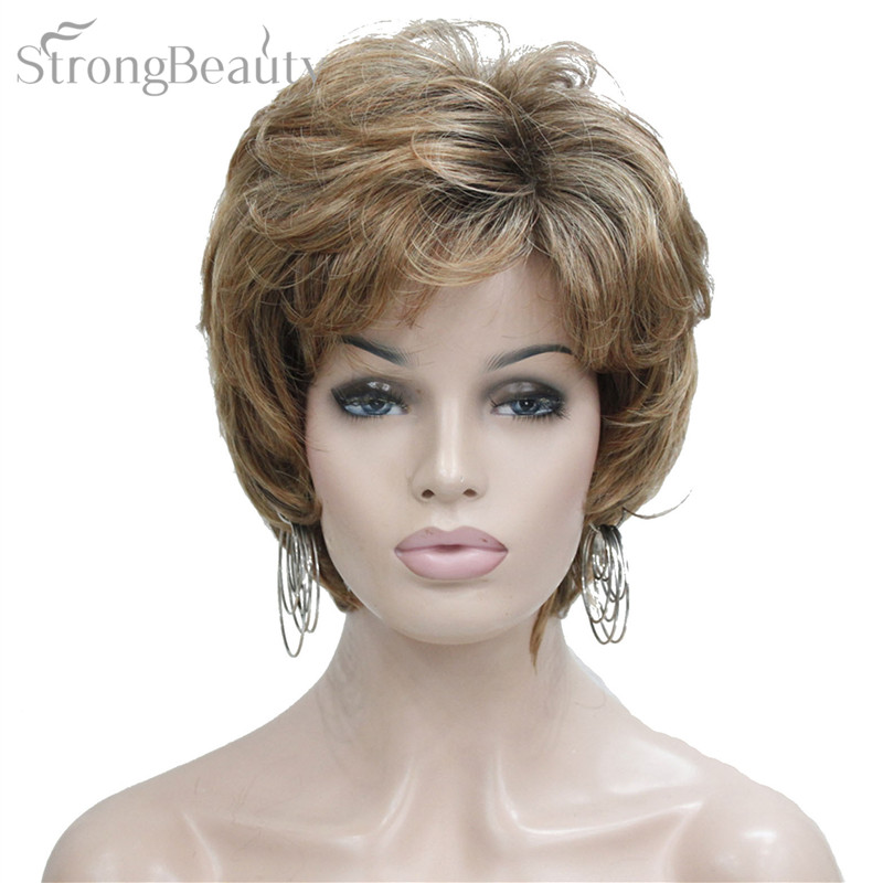 Strong Beauty Synthetic Ombre Blonde Short Body Wave Wigs With Bangs For African American Middle Age Women Natural Wig