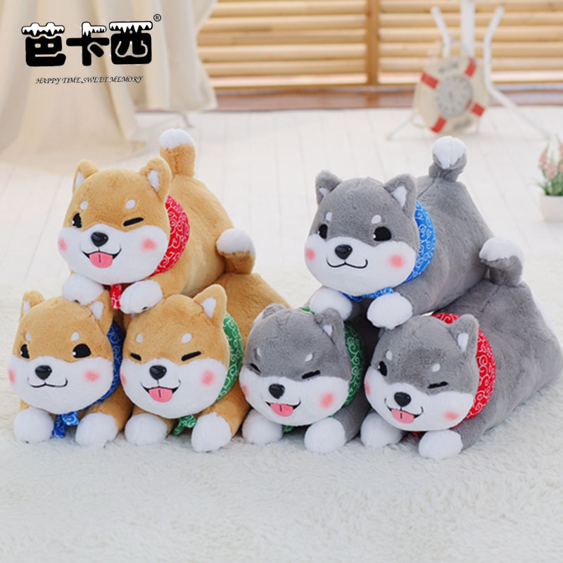 Shiba inu plush toy dog stuffed soft doll cute animal plush kids toy dog pillow birthday gift for children cartoon dog plush pillow shiba inu toys for children gift contain plush flannel blanket bedroom cushion