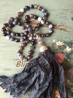 N16101502 Knot Fire Agate Beads Necklace Black Shabby BoHo Silk Tassel Necklace