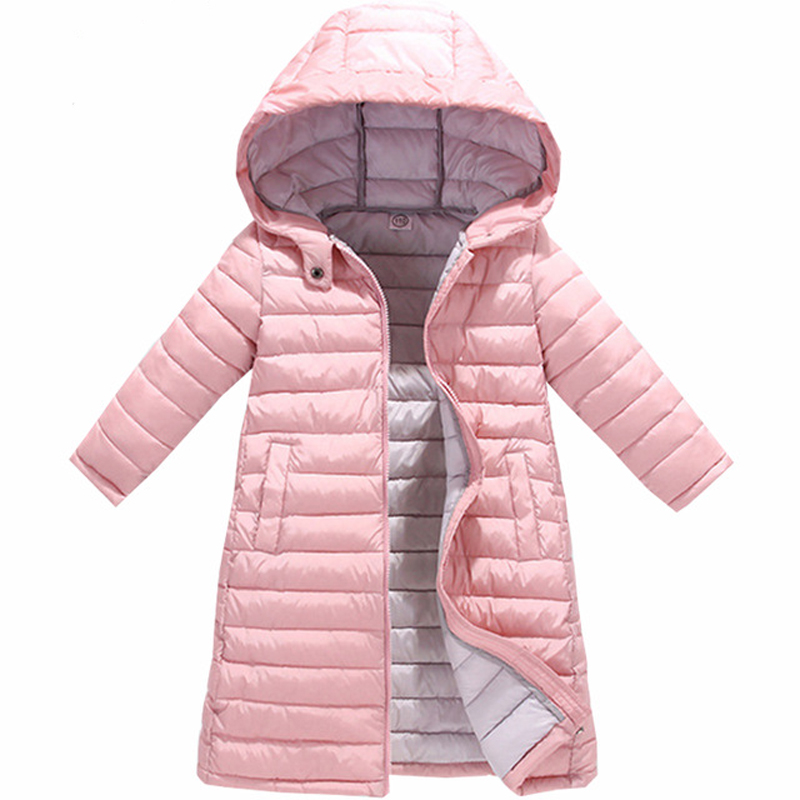 Girls Winter Long Down Jacket Warm Hooded Zipper Coat With Pocket Boys Outerwear Clothes Kids Clothing Baby Children Snow Jacket