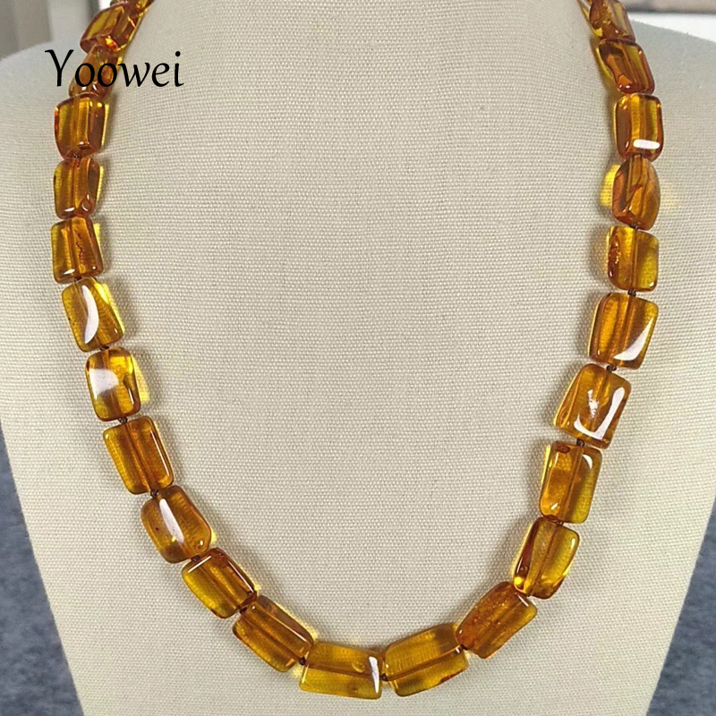 Здесь можно купить  Yoowei Natural Amber Necklace for Women Irregular Rectangle Bead 45cm Mama Anniversary Gift Heal Baltic Amber Jewelry Wholesale  Ювелирные изделия и часы