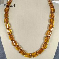 Yoowei Natural Amber Necklace for Women Irregular Rectangle Bead 45cm Mama Anniversary Gift Heal Baltic Amber Jewelry Wholesale
