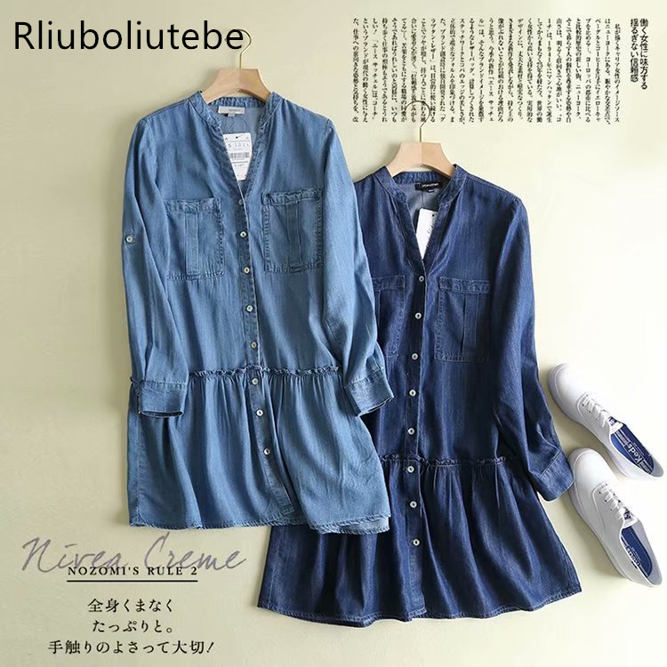 mini jeans pleated shirt dress women v neck long sleeve button up pockets summer spring vintage
