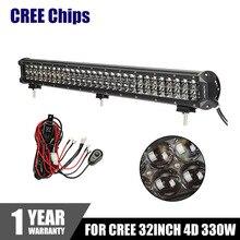 CREE Fichas 4D 32 pulgadas 330 W LED Light Bar Inundación Del Punto Combo Luces de trabajo 4×4 Remolque Fuera de la Carretera Camión ATV 4WD Coche LLEVÓ la Conducción luz