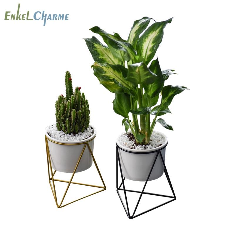 Geometric Cactus Succulent Flower Pots White Ceramic Flowerpot Metal Iron Rack Plant Stand Holder Garden Desktop Balcony Zakka Plant Stand