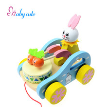 Noise Maker Toys Baby Early Learning Wooden Hammer Toys Cute Rabbit Drum Car Toys For Children Kid Baby Toys 0-12 Months Juguete(China)