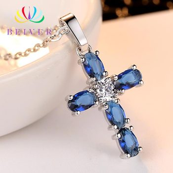 Beiver Fashion Blue Cubic Zirconia Cross Pendant Necklaces for Women Jewelry Necklaces Party Decoration Is Customized