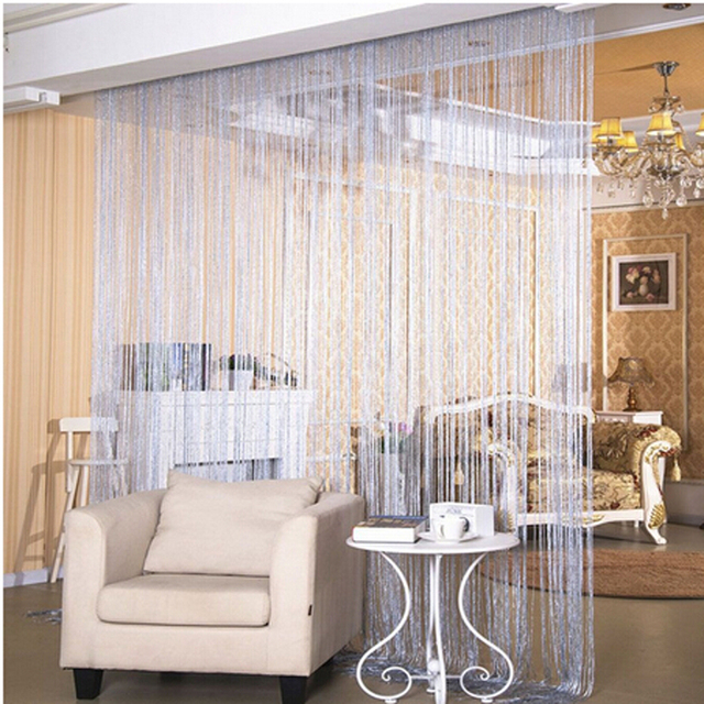 High Quality Fashion String Window Door Curtain Backdrop Blind Panel Tassels Valance  Room Divider Silver Thread Curtain