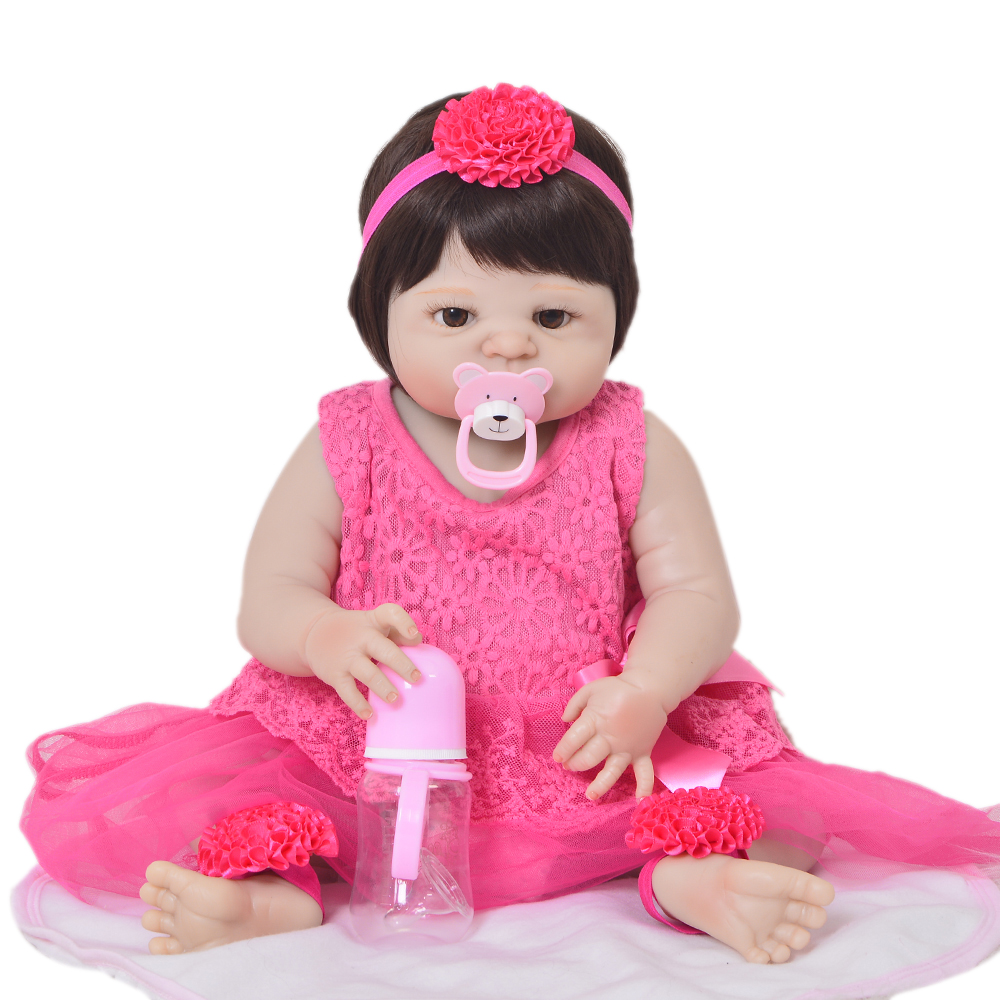 Cute Truly Newborn Doll 23 Inch Fashion Baby Toy Realistic Full Vinyl Silicone Babies Doll Handmade Gift For Girl Reborn Boneca 16 inch silicone reborn babies reborn doll cute full silicone baby doll for children girl birthday gift
