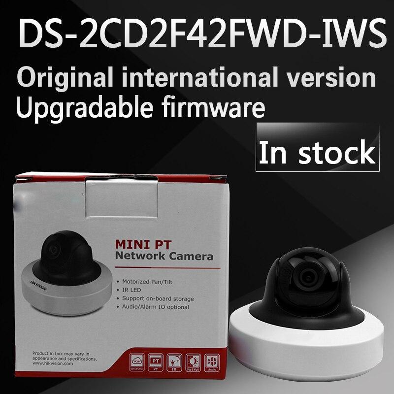 IN stock Wholesale English Version IP Camera 4MP WDR Mini PT Network Camera DS-2CD2F42FWD-IWS free shipping in stock new arrival english version ds 2cd2142fwd iws 4mp wdr fixed dome with wifi network camera