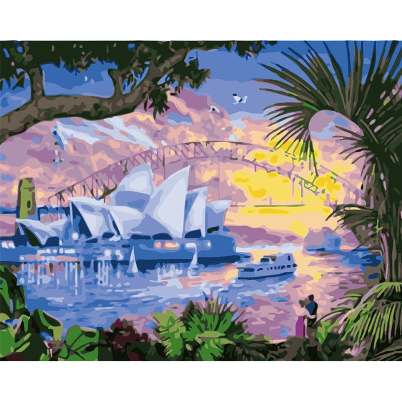 Painting By Numbers DIY Dropshipping 50x65 60x75cm Great <font><b>Sydney</b></font> Opera House Landscape Canvas Wedding Decoration Art picture Gift image