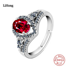 Fine Jewelry 925 Silver Ring AAA High Water Red Crystal Teardrop Glamor Woman