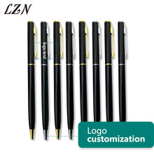LZN Free Customized Metal Ballpoint Pen Rotating Pocket size Pen Portable Small Oil Ballpoint Pen Personalized Text/Logo/Name